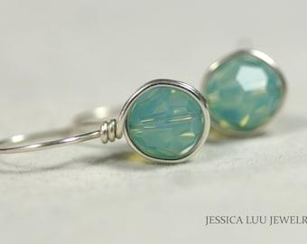 Blue Green Swarovski Crystal Earrings Wire Wrapped Jewelry Swarovski Crystal Jewelry Sterling Silver Earrings Blue Green Earrings Opal