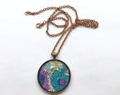 Pendant Necklace / Statement Jewelry / Long Chain / Gifts for Her / Made in USA / Copper / Bridesmaid Favors / Vintage Print