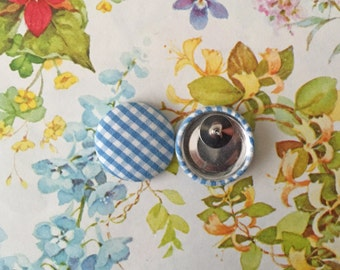 Wholesale Button Earrings / Blue Plaid / Bulk Jewelry / Gifts for Her / Nickel Free / Stud Earrings / Cottage Chic / Made in Brooklyn