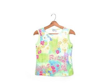 Tank Top Spandex Top Neon Floral Print Shirt Rave Top Club Kid Shirt 80s Zumba Top Workout Top Tank Top