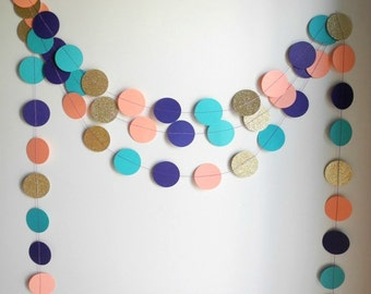 Gold coral teal purple garland, glitter garland, circle paper , coral pink baby shower decor, nursery decor, girl birthday party garland
