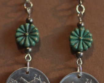 Coin Earrings with Honey Bee, Genuine Slovenia 50 Stotinov, Insect Coin, Animal Coin