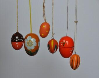 Orange Vintage German Easter Egg Ornaments. Vintage German. Authentic. Original. O-1