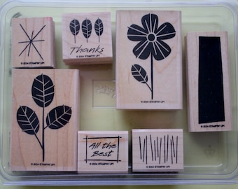 All the Best Two Step / Set of Seven Rubber Stamps /Stampin Up /2004 / Thanks Stylized Floral