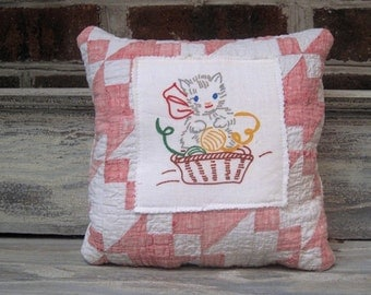 Daring Vintage Kitty Pillow On Quilt Piece