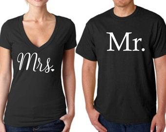 MR and MRS shirts, newlywed shirt, wedding gift, bridal gift, gift for bride and groom, mrs shirt, mr shirt, couples shirts