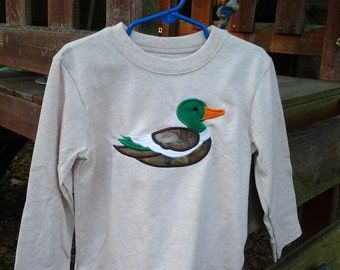 Long sleeve mallard duck appliqued tee shirt