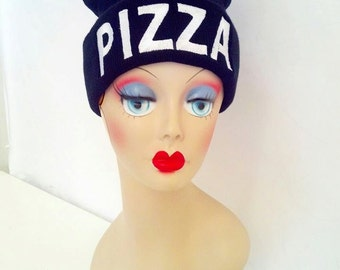 Pizza Beanie Knit Hat Skull Cap Black White Your choice colors Custom Embroidery