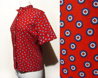 60's Printed Button Up Shirt Red Dot