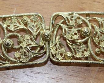 Vintage 2 Part Gold Coloured Brass Flowers Vine Patterned Buckle