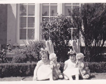 Easter Suprise~ Antique Snapshot Photo of Two Young Sisters Holding There Stuffed Easter Bunnies