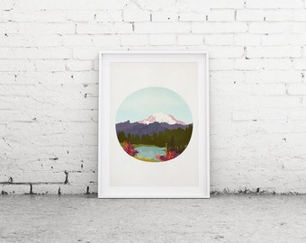 "Printable Art ""Mountain"" Print, Mt Rainier, Lake, Wanderlust Wall Art"