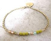 Charm Bracelet-Initial Jewelry-Personalized Jewelry-Minimalist Bracelet-Czech Glass Bracelet-Simple Jewelry-Monogram Jewelry-Free Shipping
