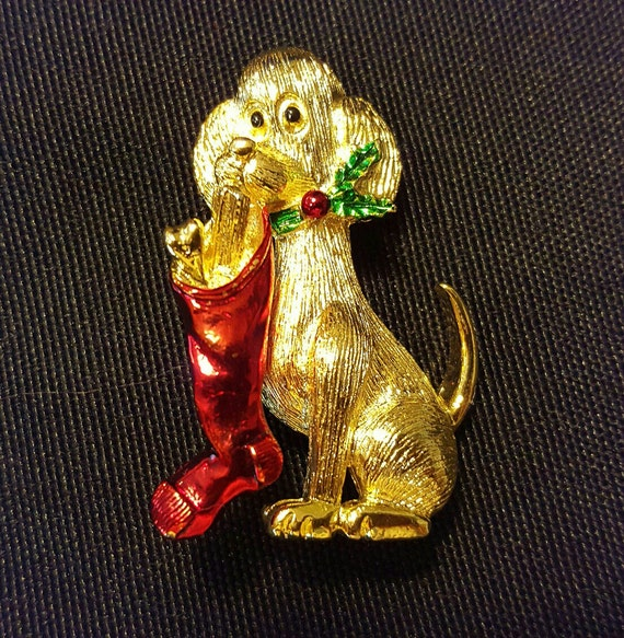 Vintage GERRYS Christmas Dog Brooch, Figural Pin, Gold-Tone Painted, Estate, Mid-Century Modern 1950s-60s,