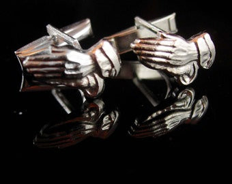 Vintage hand cufflinks Pray for PEACE Pator gift  religious silver preacher christian mens jewelry  gift cuff links