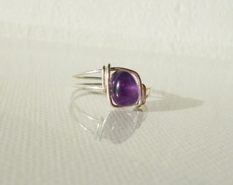 Amethyst ring, simple ring, silver ring