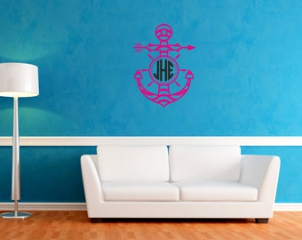 Wall Decal Anchor Monogram Wall Decal Monogram Rounded Font Anchor Circle Monogram Home Decoration Wall Art Office Decor