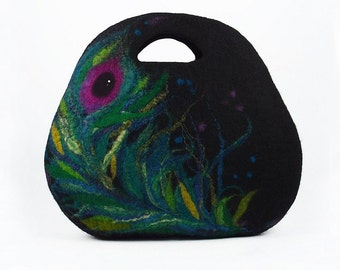 Felted Bag Peacock Purse Peacock Handbag Felt Nunofelt Multicolor Bag Nuno felt Silk Eco handmade fairy fantasy Fiber Art boho