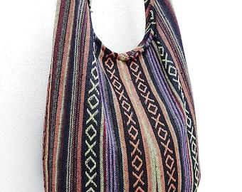 Woven Cotton Bag Hippie bag Hobo bag Boho bag Shoulder bag Sling bag Messenger bag Tote Crossbody bag Purse Women bag Handbags Long Strap