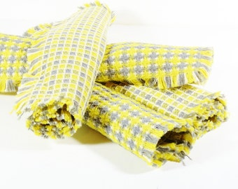 Set of 4 Vintage Grey and Yellow Checkered Place Mats Gray Yellow