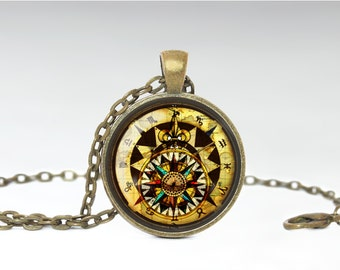 Zodiac Necklace, Compass Jewelry, Vintage Zodiac Compass Pendant [A89]