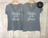 Mother of the Bride Shirt. Mother of the Groom Shirt. V-neck Bridesmaid Shirts. Bachelorette Party Shirts. Bride Shirt. Bridesmaid Gift