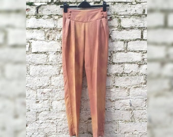 High Waisted Trousers Womens to fit UK size 6 or US size 4 Petite Tan Tie Dye Tailored Pants Hippie
