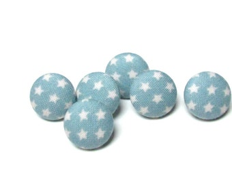 Fabric Buttons,  Mini Star Teal Tilda Fabric Covered Button, Small Stars Sew Sewing Buttons, Sweet Sixteenth, set of 6, Tilda Buttons DIY