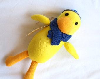 Dougal Duck. Sock animal, sock duck, sock monkey, soft plush toy duck for children.