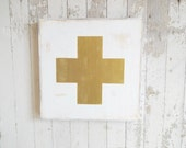 Small swiss army cross in gold and white rustic wood sign