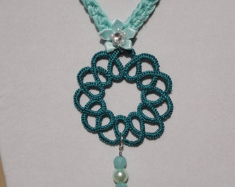 Aqua Blue Crocheted Tatted Necklace - Turquoise Necklace - Handmade Necklace