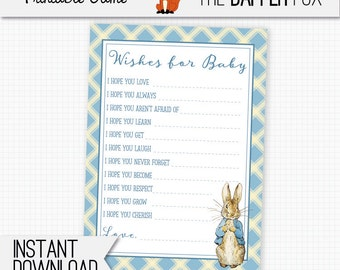 Peter Rabbit Baby Shower games Wishes for Baby - printable - Beatrix Potter Blue Baby Boy games for baby shower