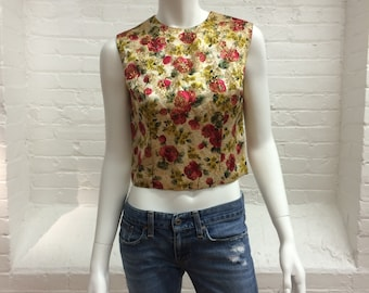 vintage brocade top //  back zipper fitted top // rich floral imported fabric shell top // Nelly de Grab // 1950s
