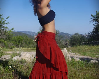 Flamenco Red Long Skirt, Elven Skirt, Dancing Skirt, Faerie Skirt, Gypsy Skirt, Nomadic Skirt, Burlesque Skirt, Bohemian Maxi Skirt