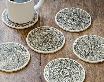 "Wooden coasters ""Mandalas"" - set of 6"
