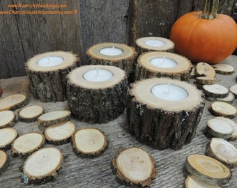 """24 qty 2"""" log candle holders, wood candle holders sticks for votive candles, weddings, cabins, decoration, decor, natural tree branch,"""
