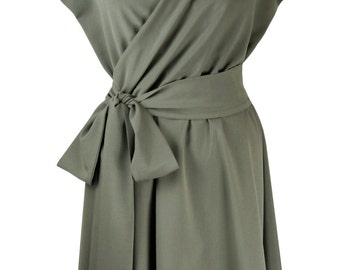 Baylis & Knight Khaki WRAP Bombshell Short Sleeve Midi Dress Vintage Dita Retro Classic 40s Pin Up