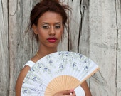 Designer HAND FAN | Provence style print with olive branch and dove bird | fashion accessories | unique gift | Free Shipping Worldwide