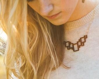 Geometric Necklace, Laser Cut Wood Necklace, Geometric Jewelry, Squares Wood Necklace, Minimalist Jewelry, Fall style, Fall jewelry