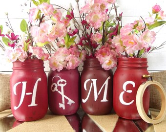 Home Accent, Painted Mason Jars, Mason Jar Decor, Rustic Country Home Decor, Living Room Decor, Painted Jars, Decorated Mason Jars
