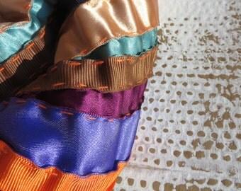 chennai / multicoloured neckpiece / chunky necklace / striped textile necklace