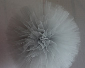 "6 - 14"" Tulle Poms, Hand Sewn and Woven Tulle Pom,  Wedding Decor, Anniversary Decor, Birthday Decor, Baby Shower Decor, Outside Decor"