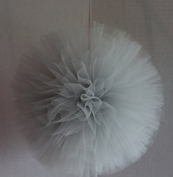 Tulle Pom, 14 Inch, Hand Sewn and Woven Tulle Poms,  Wedding Decorations, Anniversary Decorations, Birthday Decorations, Shower Decorations