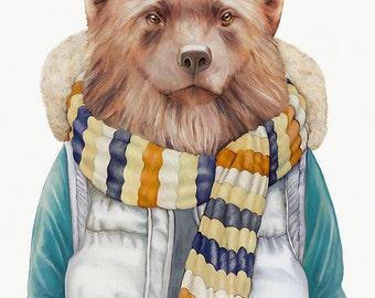 Wolverine Art Print, Winter Wolverine, Woodland Wall Art