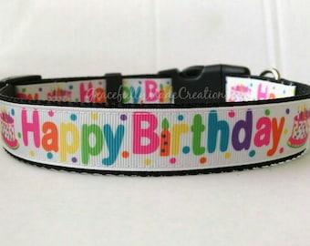 Birthday Dog Collar - Adjustable Dog Collar - Happy Birthday Collar, Cake Collar, Party Collar