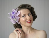 "Orchid Fascinator, Lavender Hair Accessory, Purple Flower Headpiece, Tropical Clip, 1950s Destination Wedding Headband - ""Island Coquette"""