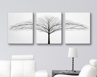 SALE Canvas Art Large Wall Art Tree of Life Painting Black and White Wall Decor Original Paintings Wall Hangings Trees Black & White 48x20