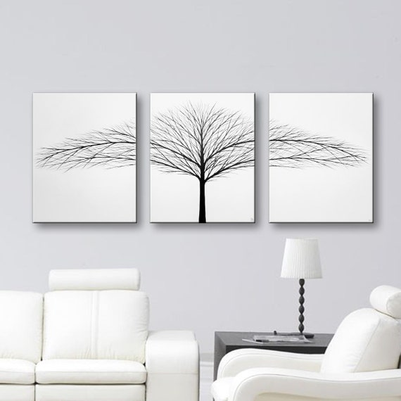Black And White Canvas Wall Art tree of life painting wall art bedroom wall decor original