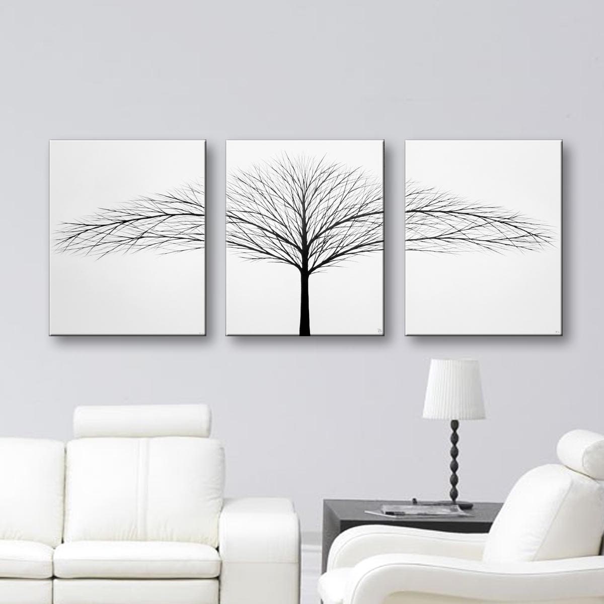 Tree of life wall art black and white art canvas art set 3 zoom amipublicfo Images
