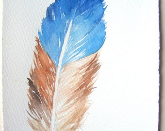 Blue feather painting original/ Watercolor feather illustration 7,5''x11''/ Home decor/ Nature painting/ Feathers artwork/ Gift for him ooak